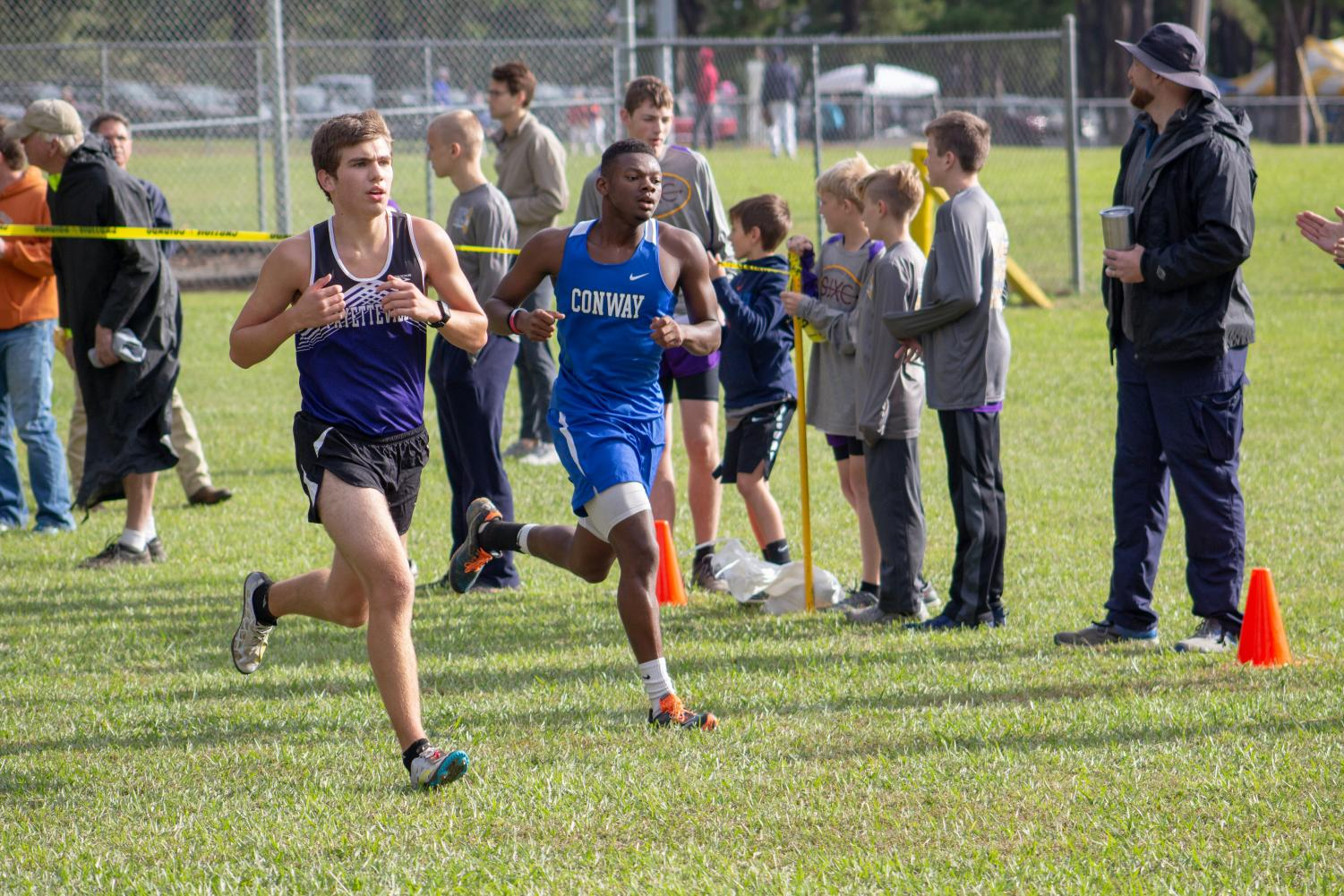 Senior Gabe Crawford working hard for the boys cross country team