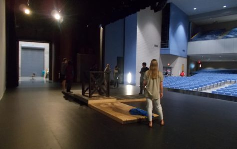 Theatre 2 students work on blocking for their upcoming performance of Shakespeare's MacBeth