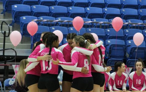 Lady Cats talking strategy before the next set