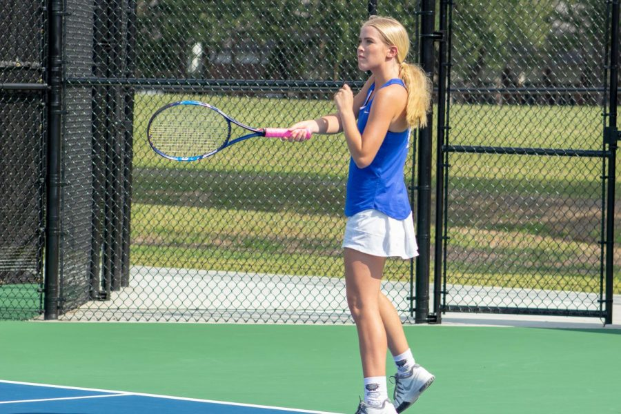 Senior+Kate+Ferguson+returns+the+ball+in+a+match+against+Fayetteville+early+in+the+season.++The+Wampus+Cat+Tennis+team+was+successful+in+their+conference+matches+this+month.++