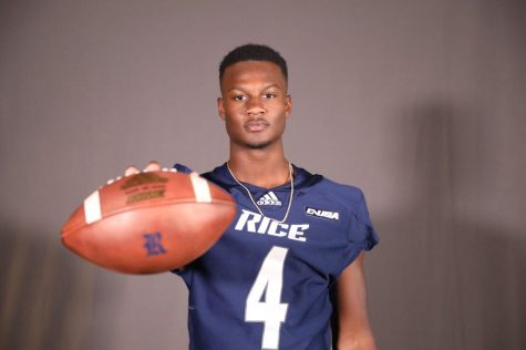 Jovoni Johnson on his visit to Rice University.