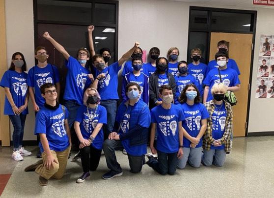 CJHS Quiz Bowl celebrates their first win of the season.