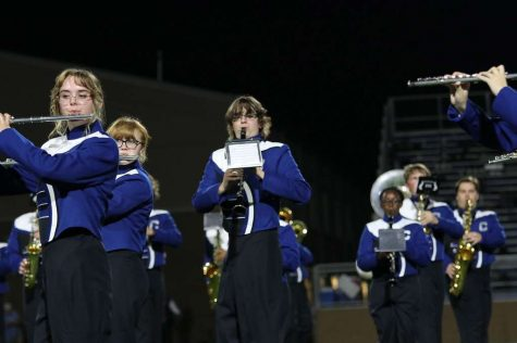 Wampus Cat marching band performs its halftime show for the first time September 10.
